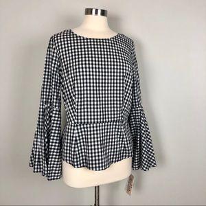 🎄SALE NWT Nanette Lepore Black Checkered Top Sz L